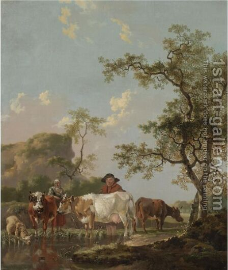 A Landscape With Two Peasants And Their Cattle Beside A Stream by Barend Hendrik Thier - Reproduction Oil Painting