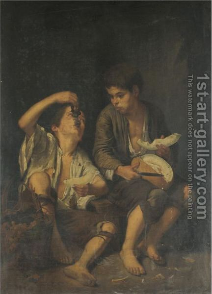 Street Urchins Eating Fruit by (after) Murillo, Bartolome Esteban - Reproduction Oil Painting