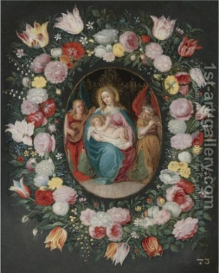 The Madonna And Child With Two Angels Surrounded By A Garland Of Flowers by (after) Frans II Francken - Reproduction Oil Painting