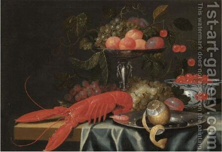 A Still Life With Apricots, Cherries And Grapes In A Silver Tazza, Cherries In A Porcelain Dish by (after) Jan Davidsz. De Heem - Reproduction Oil Painting