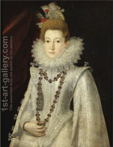 Portrait Of A Lady, Half Length, Wearing A White Richly Embroidered Dress And Holding A Necklace by (after) Alonso Sanchez Coello - Reproduction Oil Painting