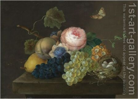 A Still Life With Grapes, Pears And Flowers by (after) Johann Baptist Drechsler - Reproduction Oil Painting