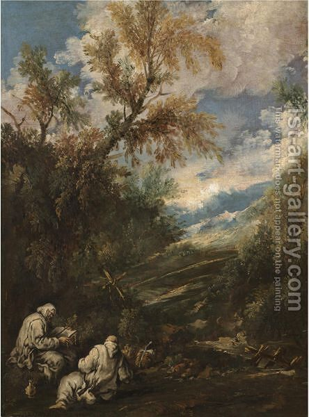 A Wooded Landscape With Saints Anthony The Great And Paul The Hermit by (after) Antonio Francesco Peruzzini - Reproduction Oil Painting