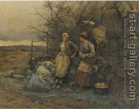 Maidens Waiting by Daniel Ridgway Knight - Reproduction Oil Painting