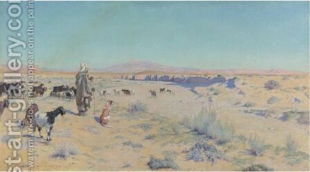 The Goatherder, Biskra by Charles James Theriat - Reproduction Oil Painting