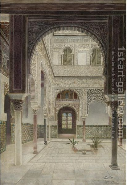 The Patio De Las Mujeres At Alcazar Of Seville by E. Arpe - Reproduction Oil Painting