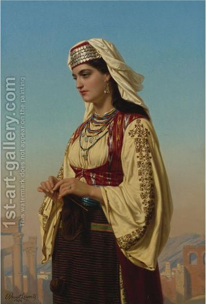 A Greek Beauty by Charles Emile Hippolyte Lecomte-Vernet - Reproduction Oil Painting