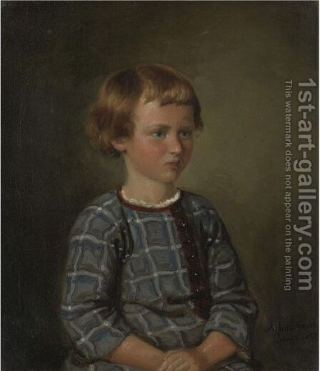 Portrait Of A Young Girl by Adolph Tidemand - Reproduction Oil Painting
