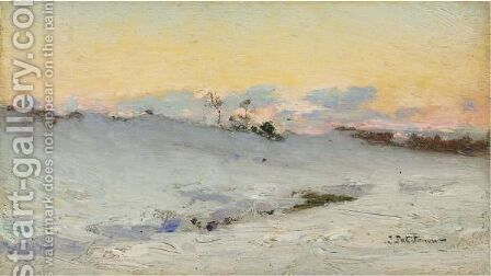 The Plain Of Bressoux Under Snow by Ivan Pavlovich Pokhitonov - Reproduction Oil Painting