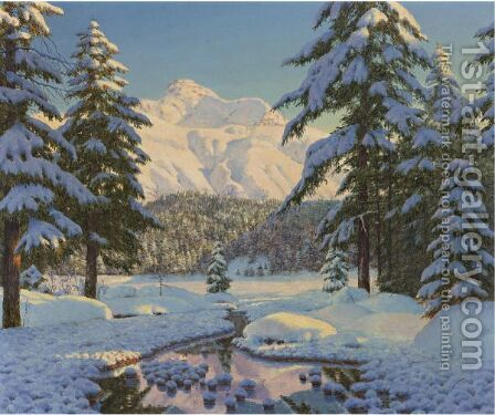 Winter Landscape In Blue by Boris Bessonof - Reproduction Oil Painting