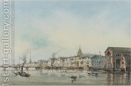 View Of St. Petersburg From The Neva, 1854 by Iosef Iosefovich Charlemagne - Reproduction Oil Painting