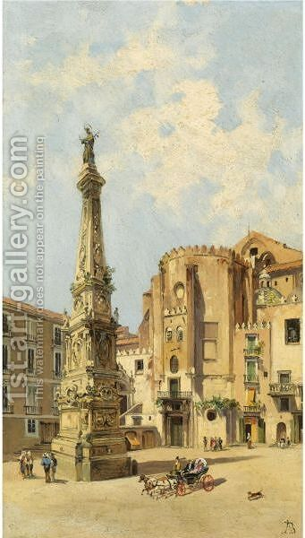 A Carriage On Piazza Di San Domenico Maggiore, Naples by Antonietta Brandeis - Reproduction Oil Painting