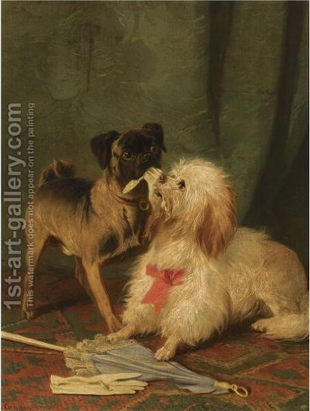A Pug And A Maltese Playing Tug-Of-War by Conradyn Cunaeus - Reproduction Oil Painting