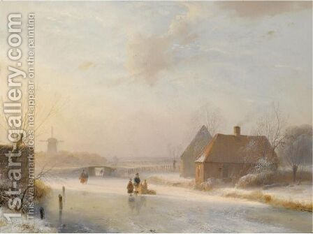 Figures On The Ice At Sunset by Andreas Schelfhout - Reproduction Oil Painting