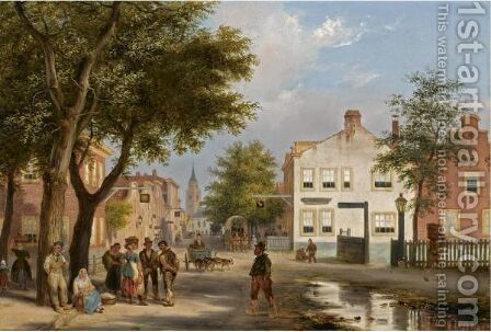 A Busy Square In A Dutch Town by Guiseppe Canella - Reproduction Oil Painting