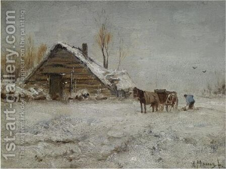 A Peasant At Work On A Wintry Day by Anton Mauve - Reproduction Oil Painting