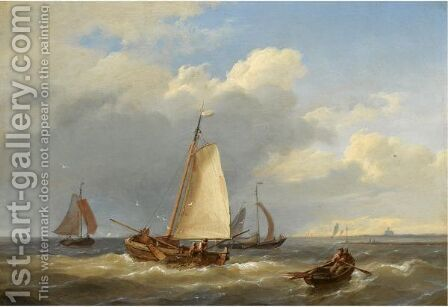 Fishermen Hauling In The Nets by Hermanus Koekkoek - Reproduction Oil Painting
