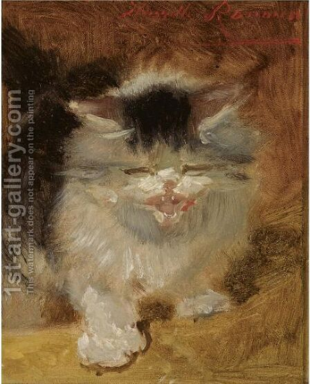 An Angry Little Kitten by Henriette Ronner-Knip - Reproduction Oil Painting