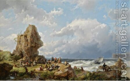 Many Shipwrecked Figures On A Rocky Coast by Hermanus Koekkoek - Reproduction Oil Painting