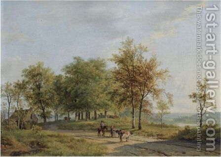 Drovers And Their Cattle In A Summer Landscape by Barend Cornelis Koekkoek - Reproduction Oil Painting