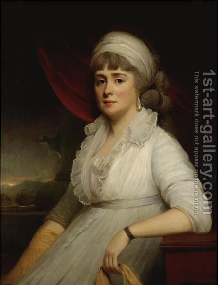 Portrait Of Mrs John Marsh, Nee Lucy Gostling by (after) Sir Martin Archer Shee - Reproduction Oil Painting