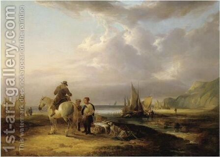 A Horseman Conversing With Two Fishermen by (after) William Snr Shayer - Reproduction Oil Painting
