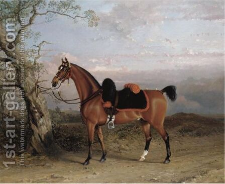 A Charger Belonging To An Officer In The 3rd Dragoon Guards by (after) George Henry Laporte - Reproduction Oil Painting