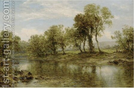 Figures Resting By A Riverbank by Benjamin Williams Leader - Reproduction Oil Painting