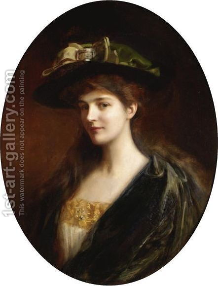 Portrait Of A Lady Wearing A Green Hat by Albert Lynch - Reproduction Oil Painting