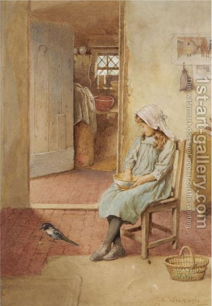 Feeding The Magpie by Charles Edward Wilson - Reproduction Oil Painting