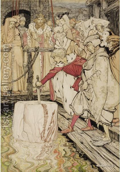 Arthur Pulling Excalibur From The Stone by Arthur Rackham - Reproduction Oil Painting