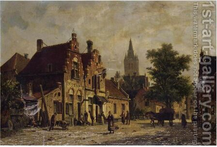 Dutch Street Scene 2 by Adrianus Eversen - Reproduction Oil Painting