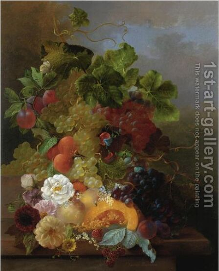 Still Life Of Fruit With Dahlias And Roses by Jan Van Der Waarden - Reproduction Oil Painting