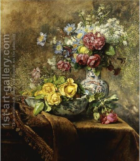 Still Life Of Flowers by Anna Peters - Reproduction Oil Painting