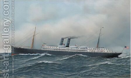The Steamship Monterey by Antonio Jacobsen - Reproduction Oil Painting