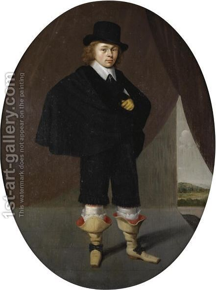 Portrait Of A Gentleman, Full Length, Wearing A Black Cape, Black Trousers And A Black Hat, A Landscape Beyond by (after) Herman Doncker - Reproduction Oil Painting