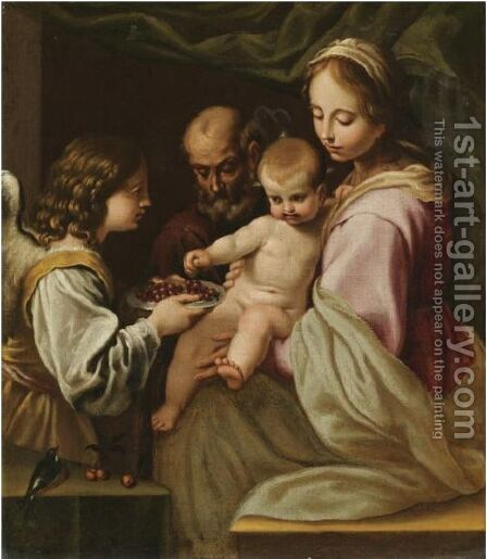 The Holy Family With An Angel Offering The Christ Child A Plate Of Cherries by (after) Simone Cantarini (Pesarese) - Reproduction Oil Painting