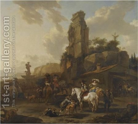 An Italianate Landscape With A Hawking Party Resting By A Fountain by (after) Nicolaes Berchem - Reproduction Oil Painting