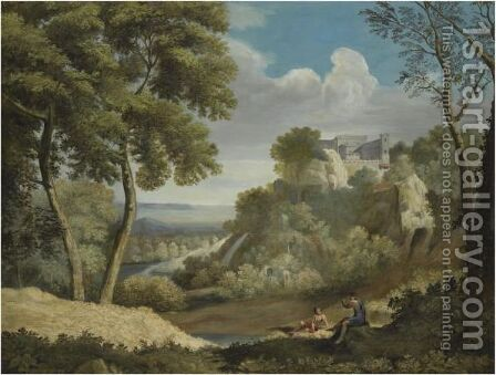 A Landscape With Two Figures In The Foreground And A Fortified Town Beyond by (after) Gaspard Dughet - Reproduction Oil Painting