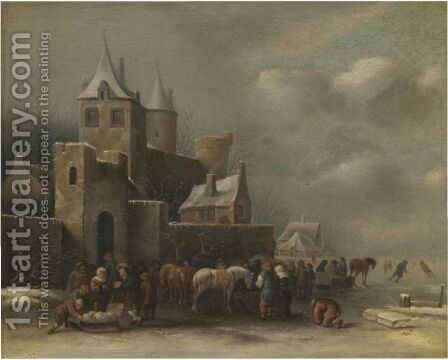 A Winter Landscape With Figures Conversing Outside A Village by Claes Molenaar (see Molenaer) - Reproduction Oil Painting