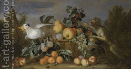 A Still Life With Pears, Apricots And Peaches In A Basket With A Monkey And A Cockatoo In A Landscape by (after) Tobias Stranover - Reproduction Oil Painting