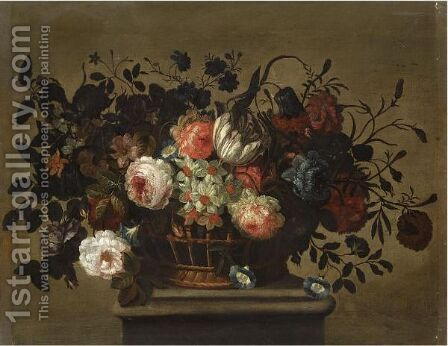 A Flower Still Life With A Tulip, Roses, Bluebells, Daffodills And Carnations In A Basket On A Ledge by (after) Pieter Hardime - Reproduction Oil Painting