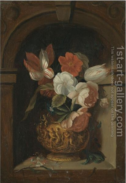 A Still Life Of Tulips, Roses, Morning Glory And Other Flowers In A Sculpted Bronze Vase In A Niche by (after) Ambrosius The Elder Bosschaert - Reproduction Oil Painting
