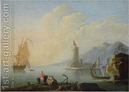 A Mediterranean Harbour Scene With Figures In The Foreground by (after)  Claude-Joseph Vernet - Reproduction Oil Painting