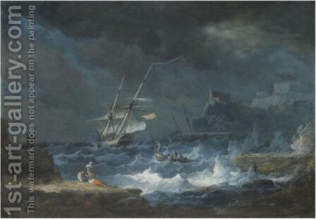 A Coastal Scene With Ships Weathering A Storm by Alexandre-Jean Noel - Reproduction Oil Painting