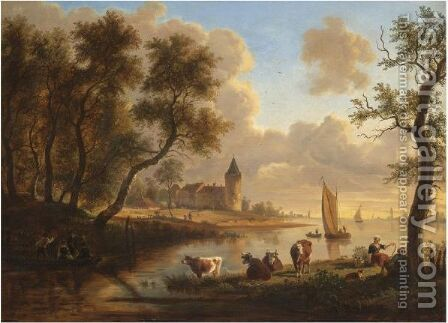 A Dutch River Landscape With Peasants And Cattle Resting By A Stream, A Village Beyond by (after) Frans Swagers - Reproduction Oil Painting