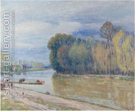 Le Canal Du Loing Au Printemps - Le Matin by Alfred Sisley - Reproduction Oil Painting