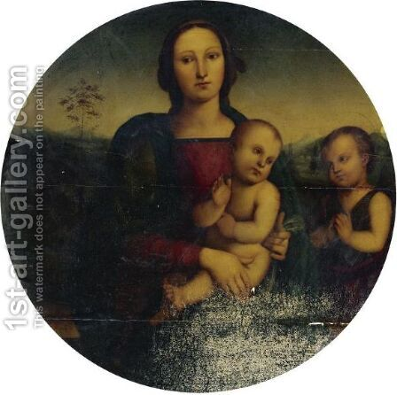 Madonna And Child With The Infant St. John The Baptist by (after) Pietro Vannucci Perugino - Reproduction Oil Painting