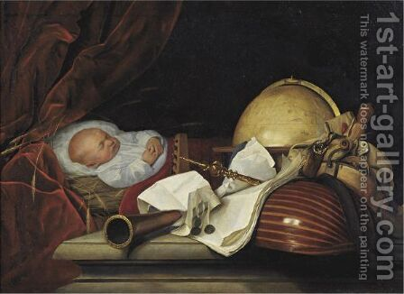 Still Life With A Sleeping Child, A Globe, Musical Instruments, And Other Musical Accoutrements by Dutch School - Reproduction Oil Painting