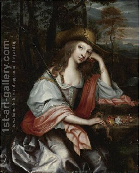 Portrait Of A Young Woman As A Shepherdess by (after)Jan Mijtens - Reproduction Oil Painting